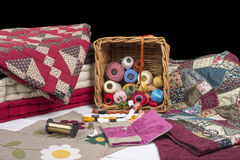 Quilting equipment and fabrics. Various items for quilting and embroidery Stock Images