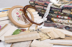 Quilting equipment and fabrics. Various items for quilting and embroidery Royalty Free Stock Photo