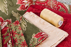 Quilting fabrics and thread Royalty Free Stock Photography