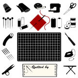 Quilting Icons. Collection of 20 tools & supplies for quilting, patchwork, applique & trapunto: thimble, bolt of cloth, tape measure, sewing machine, scissors Royalty Free Stock Photos