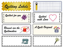 Quilting Labels. Collection of quilting labels in black and white, fashion accent colors. Copy space to customize for quilting, patchwork, appliqué, trapunto Stock Photo