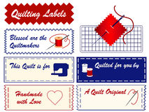 Quilting Labels. Personalize your project. Copy space to add your name to this collection of labels for quilting, patchwork, applique, trapunto and do it Stock Photos