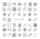 Quilting line icons set. Patchwork supplies and accessories. Stock Images