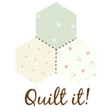 Quilting Logo. Quilting vector logo illustration in pastel colors with flowers and branches Royalty Free Stock Images