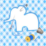 Quilting, needle, thread, a patch of elephant. Vector illustration Royalty Free Stock Photos