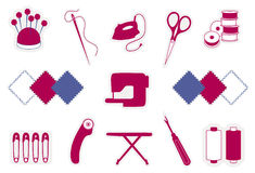 Quilting & Patchwork Icons. Tools & supplies for quilting, patchwork, stitchery, applique: flower head pins, needle, thread, iron, embroidery scissors, bobbins Stock Images