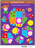 Quilting or patchwork themed logic picture puzzle. Quilting or patchwork themed IQ training visual puzzle suitable both for kids and adults: Find all the Royalty Free Stock Photo
