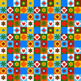 Quilting pattern seamless vector. Vector colorful geometric pattern with small shapes, circles, dots, triangles, hearts, flowers. Seamless background in quilting Royalty Free Stock Photo