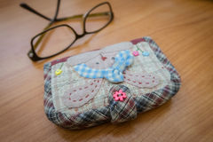 Quilting purse. Handmade of fabric quilting purse Royalty Free Stock Photos