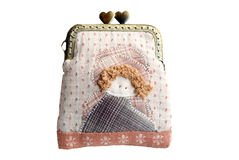Quilting purse isolated on white background with clipping path. Quilting purse,the hand sewing craft Stock Photography