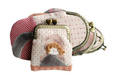 Quilting purses isolated on white background with clipping path. Royalty Free Stock Images