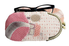Quilting purses isolated on white background with clipping path. Quilting purses,the hand sewing crafts Royalty Free Stock Images