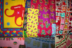 Quilts hanging at bazaar Stock Photos