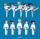 Quimono vestindo da criança dos desenhos animados, arte marcial Imagem de Stock Royalty Free