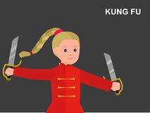 Quimono vestindo da criança dos desenhos animados, arte marcial Imagens de Stock