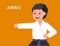 Quimono vestindo da criança dos desenhos animados, arte marcial Imagens de Stock Royalty Free