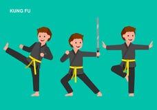 Quimono vestindo da criança dos desenhos animados, arte marcial Fotografia de Stock Royalty Free