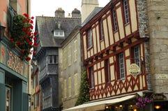 Quimper (Brittany): gamla hus Arkivbilder