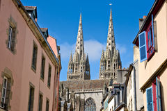 Quimper, cathedral and timbered Royalty Free Stock Image