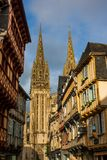 Quimper street at the sunset, Brittany Royalty Free Stock Images