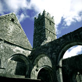 Quin Abbey, Clare. Tower of Quin Abbey near Ennis, County Clare, Eire Royalty Free Stock Photos