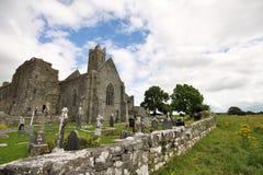Quin Abbey fördärvar i Irland Arkivfoto