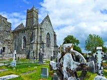 Quin Abbey famoso in Irlanda Fotografia Stock Libera da Diritti