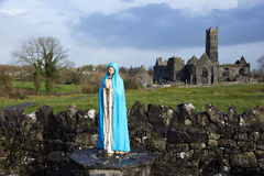Quin Abbey. Maria in front of Quin Abbey, County Clare, Ireland Royalty Free Stock Photo
