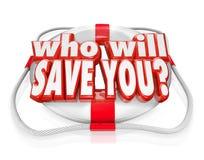 Quién le ahorrará rescate de la ayuda del conservante de vida Foto de archivo libre de regalías