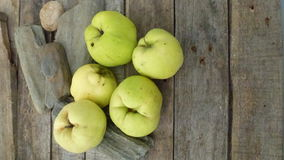 Quince. Autumn fresh qunces on wooden table with stones Royalty Free Stock Photos