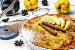 Quince cake in rustic style Stock Images