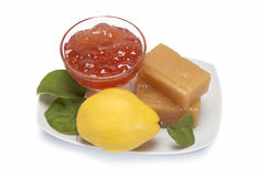 Quince cheese and jelly. Still life with homemade  quince cheese and jelly Royalty Free Stock Images