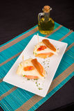 Quince and cheese tapa Stock Images
