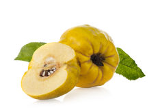 Quince fruit with leaves Stock Photos