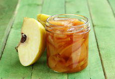Quince jam confiture in  glass jar Stock Photos