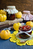 Quince jam. In a glass jar Stock Photography