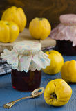 Quince jam. In a glass jar Royalty Free Stock Photos