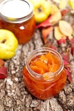 Quince Jam. Homemade jam from a quince. Selective focus royalty free stock image