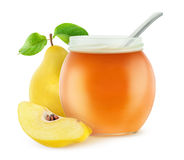 quince jam. Quince jelly. Cut quince fruits and open jam jar  on white background with clipping path Stock Photos