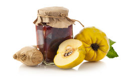 Quince jam with quince fruit and and ginger Stock Photo