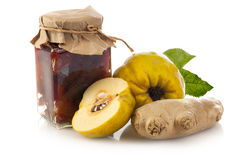 Quince jam, quince fruit and ginger Royalty Free Stock Photos