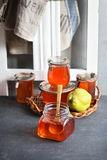 Quince jelly in a jar Royalty Free Stock Images
