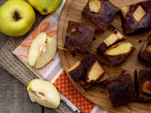 Quince slices of chocolate cake Stock Images