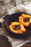 Quince stewed with honey, walnut and thyme Royalty Free Stock Images