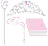 Quinceanera Collection. Collection includes tiara, scepter, rosary and bible. All have pink rhinestone 15 in heart motif Royalty Free Stock Photo