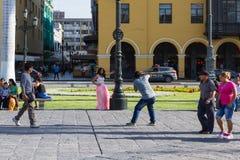 Quinceanera in the Plaza Mayor de Armas Royalty Free Stock Photo