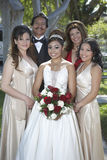 Quinceanera Standing With Parents And Friends In Lawn Royalty Free Stock Photos