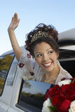 Quinceanera Waving Hand From Car Window Stock Photo