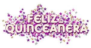 Happy quinceanera art stars. Quincenera art card invitation happy banner feliz colorful confetti paper stars birthday 15th royalty free illustration