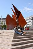 Quincentennial Fountain at Eyre Square, Galway Ireland. Quincentennial Fountain at Eyre Square shows rusty iron plates resembling sails standing in pool. Broader Royalty Free Stock Images